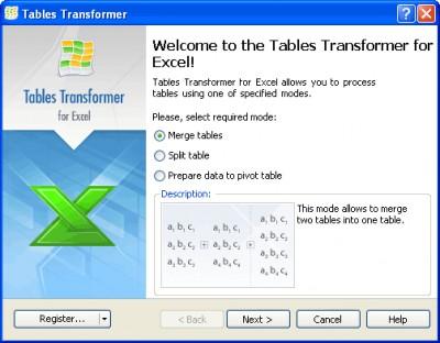 <b>Tables Transformer</b> for Excel 1.3.3 screenshot