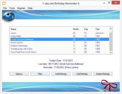 1-abc.net Birthday Reminder 6.00 screenshot