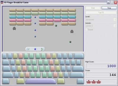 10 Finger BreakOut - Free Typing Game 6.3 screenshot