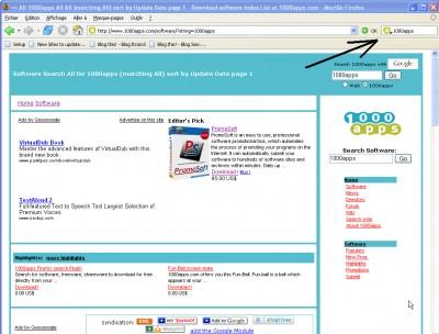 1000apps Firefox search Plugin 1.0 screenshot