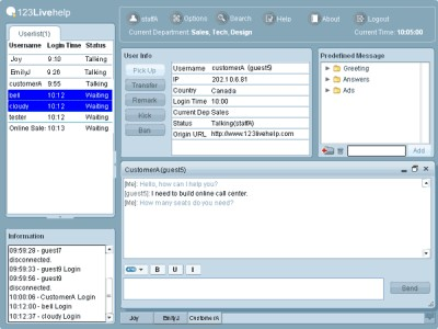 123 Live Help Chat Server Software 1.0 screenshot