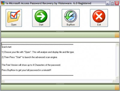 1a MS Access Password Recovery 6.0 screenshot