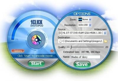 1CLICK DVDTOIPOD 3.2.0.4 screenshot