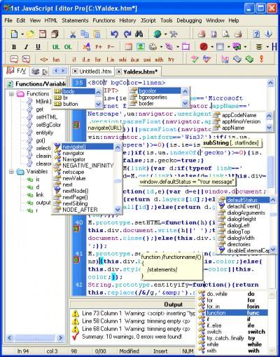 1st JavaScript Editor Pro 3.5 3.5 screenshot