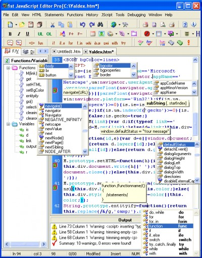 1st JavaScript Editor Pro 3.8 3.8 screenshot