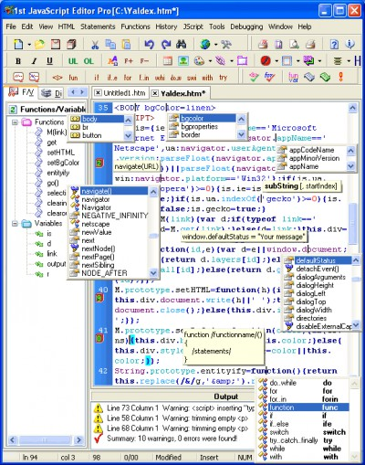 1st JavaScript Editor Pro 5.1 5.1 screenshot