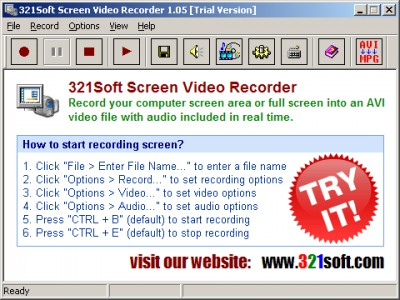 321Soft Screen Video Recorder 1.05.4 screenshot