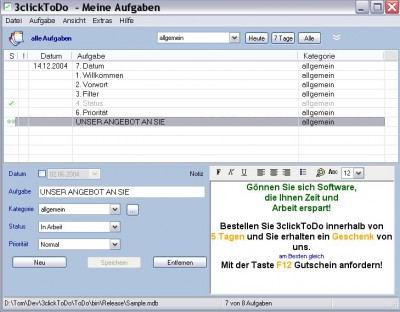 3clickToDo Manager 1.2.0.7 screenshot