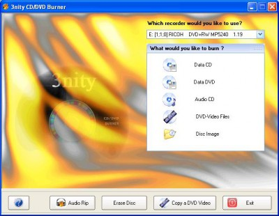 3nity CD DVD BURNER 1.3 screenshot