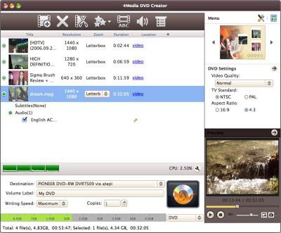 4Media DVD Creator for Mac 7.1.4.2013 screenshot