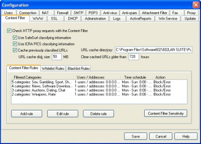 602LAN SUITE Content Filter 2004.0.07. screenshot