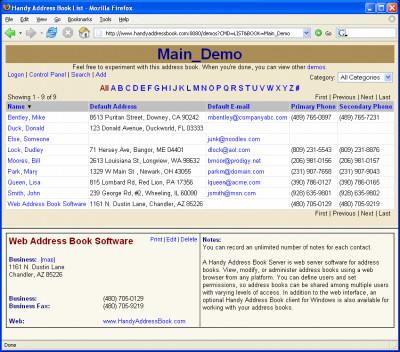 A Handy Address Book Server 4.0 screenshot