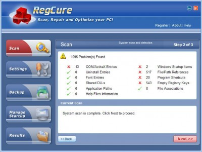 A RegCure 4.8.243 screenshot