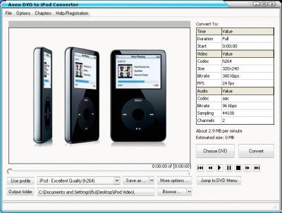 A V E X - DVD to iPod Converter 2008.243 screenshot