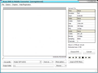A V E X - DVD to Mobile Converter 2008.243 screenshot