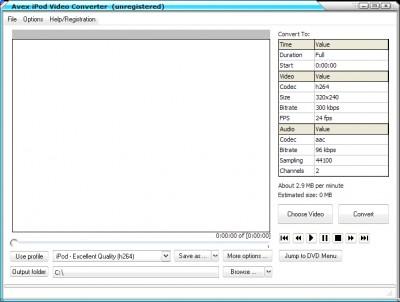 A V E X - iPod Video Converter 2008.243 screenshot