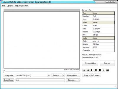 A V E X - Mobile Video Converter 2008.243 screenshot