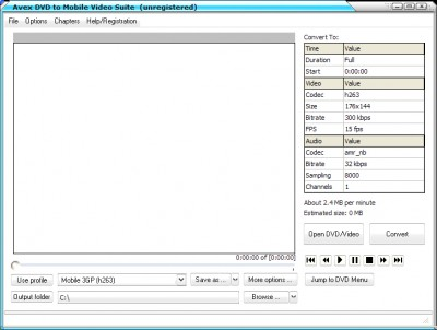 Aavx DVD to Mobile Video Suite 7.2.1.2322 screenshot