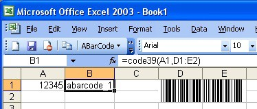 ABarCode for Excel 1.2.1 screenshot