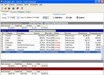 Abassis Finance Manager 1.4 screenshot
