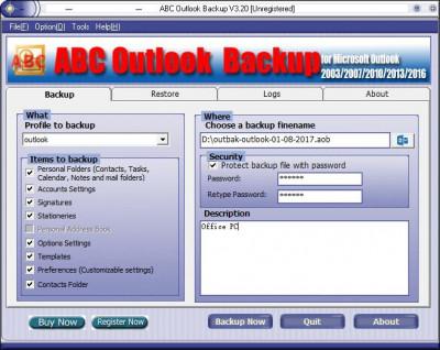 ABC Outlook Backup 3.30 screenshot