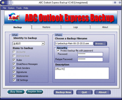 ABC Outlook Express Backup 2.50 screenshot