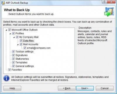 ABF Outlook Backup 3.21 screenshot
