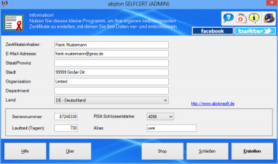 abylon SELFCERT 15.90.1 screenshot