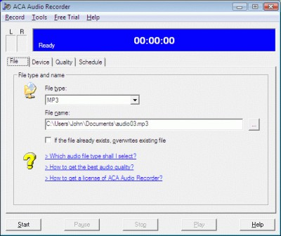 ACA Audio Recorder 4.20 screenshot