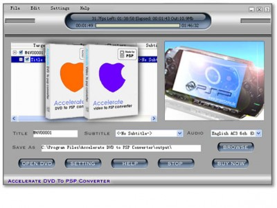 ACCEL - DVD + Video to PSP 2008.003 screenshot
