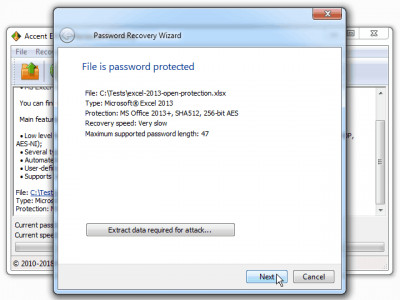 Accent EXCEL Password Recovery 7.93 screenshot