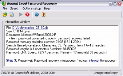 Accent OFFICE Password Recovery 2.32 screenshot