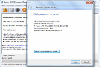 Accent WORD Password Recovery 7.9 screenshot