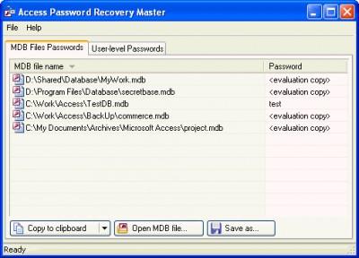 Access Password Recovery Master 1.0 screenshot
