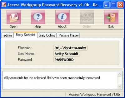 Access Workgroup Password Recovery 1.0a screenshot