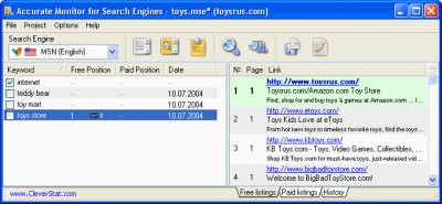 Accurate Monitor for Search Engines 2.3 screenshot