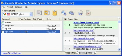Accurate Monitor for Search Engines 2.9.62.186 screenshot