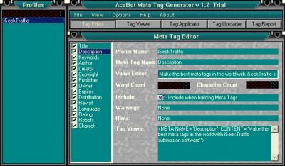 AceBot Metatag Generator 2.0 screenshot