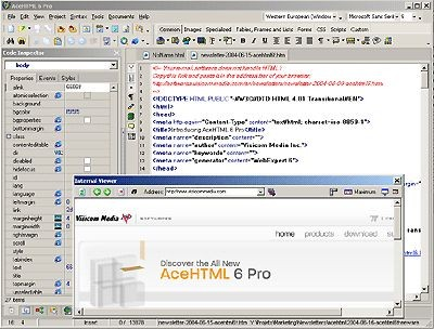 AceHTML Pro 6.50 screenshot