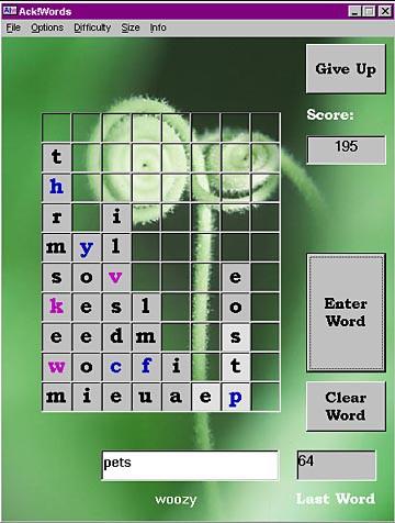 Ack!words 2.1 screenshot