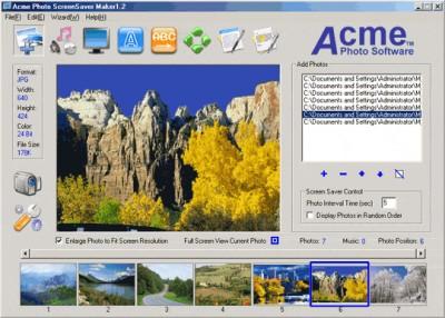 Acme Photo ScreenSaver Maker 1.90 screenshot