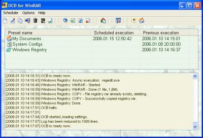 Acritum One-click BackUp for WinRAR 3.01 screenshot