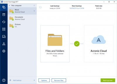 Acronis True Image for Mac 2017 screenshot