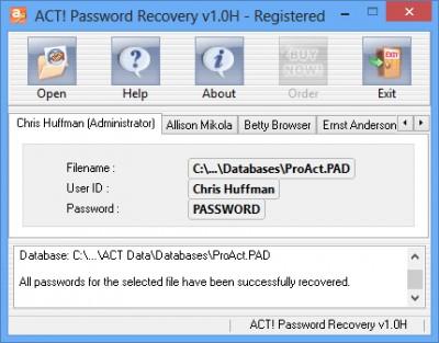 ACT Password Recovery 1.0H screenshot