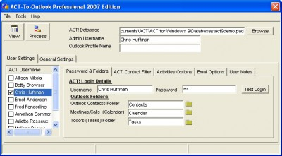 ACT-To-Outlook Professional - 2007 9.1 screenshot