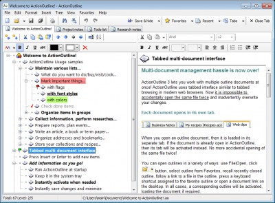 ActionOutline Lite 3.4 screenshot