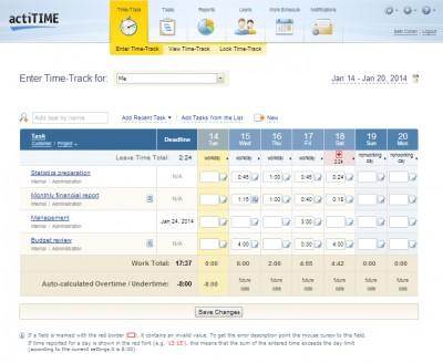 actiTIME 2016 screenshot