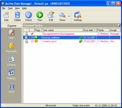 Active Date Manager 2.0 screenshot