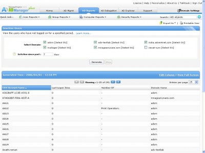 Active Directory Management and Reporting Tool - A 6.0 screenshot