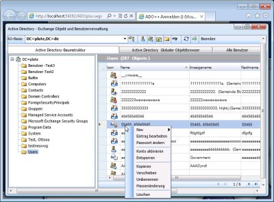 ADOplusWeb Exchange Lync User Management 4.0.0 screenshot